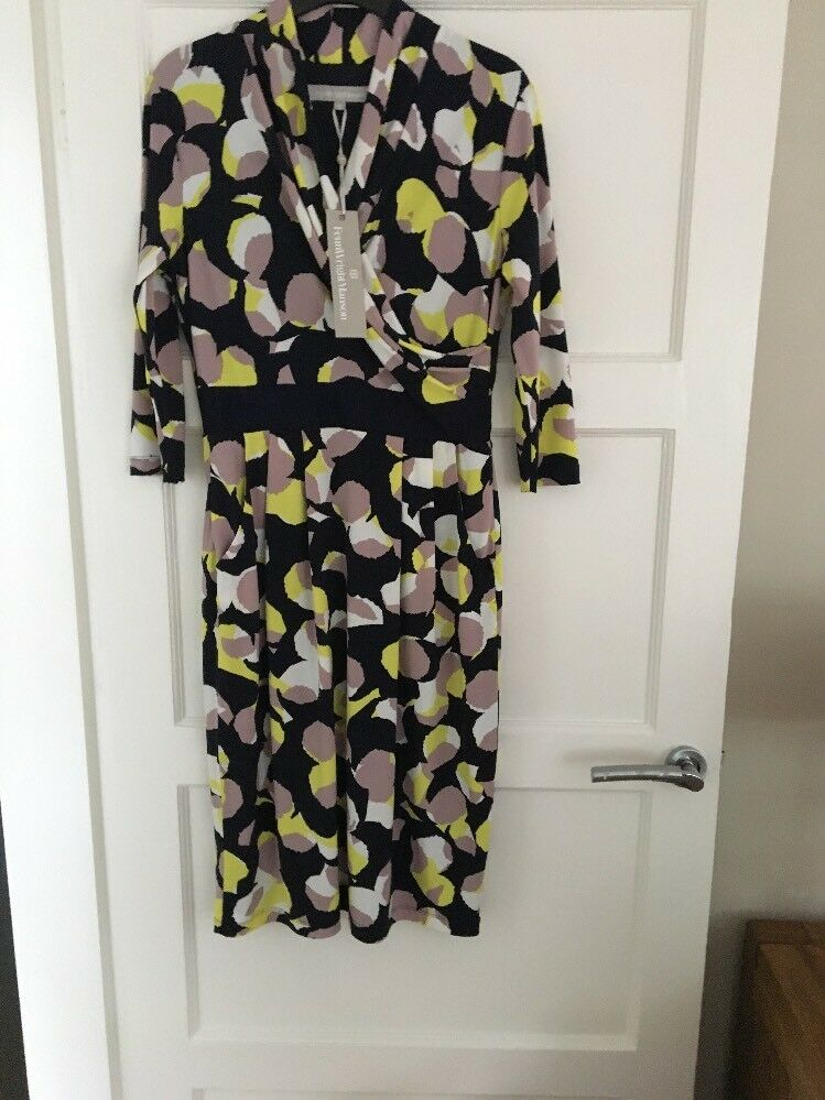 BNWT Fenn Wright Manson Dress Size 10 Navy Taupe Lime RRP 150