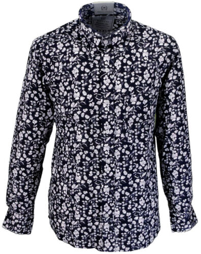 Relco Mens Floral Flower Shirt Platinum Collection Navy Blue Long Sleeve Vintage