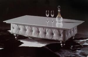 Designer Couchtisch Glastisch Tisch Chesterfield Leder Tische Sofort