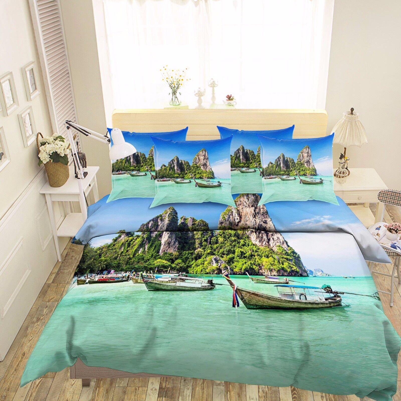 3D Sea Island Scenery 56  Bed Pillowcases Quilt Duvet Cover Set Single Queen CA