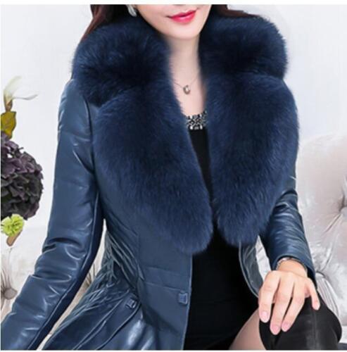 Winter Fur Leather Coat Elegant Outwear Womens Collar Warm Pu Jacket Slim xptwBZHBq
