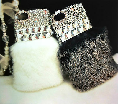 Hand-made High Quality Bling Diamond Rabbit Fur iPhone 5 5s Case -ONLY GREY LEFT