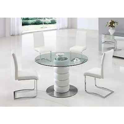 LUGANO GLASS LEATHER DINING ROOM TABLE AND 4 CHAIRS SET -FURNITURE- (IJ654-817)