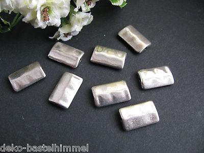 8 Metallperlen 10 x 16,5 mm, in silber, Schmuck  mit Perlen basteln