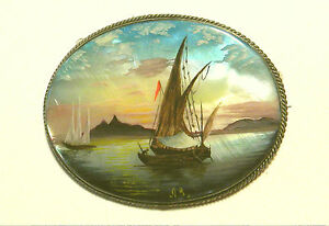 BEAUTIFUL Hand Painted Russian MOTHER PEARL BROOCH sailboat