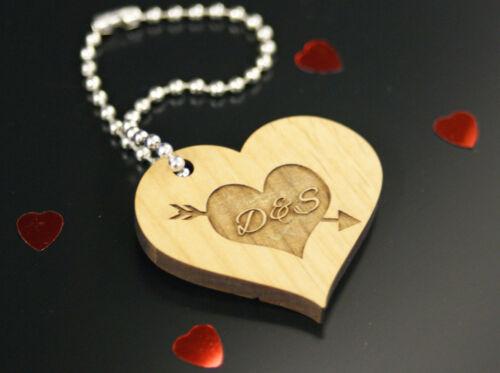 Personnalisé St-Valentin Anniversaire de Mariage en Bois Coeur Porte-clés Love Token Cadeau