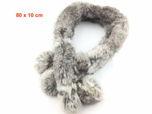 Real Rabbit Fur Scarf Warm Scarf Winter Neck Warmer Wrap Collar Neck Shawl D3