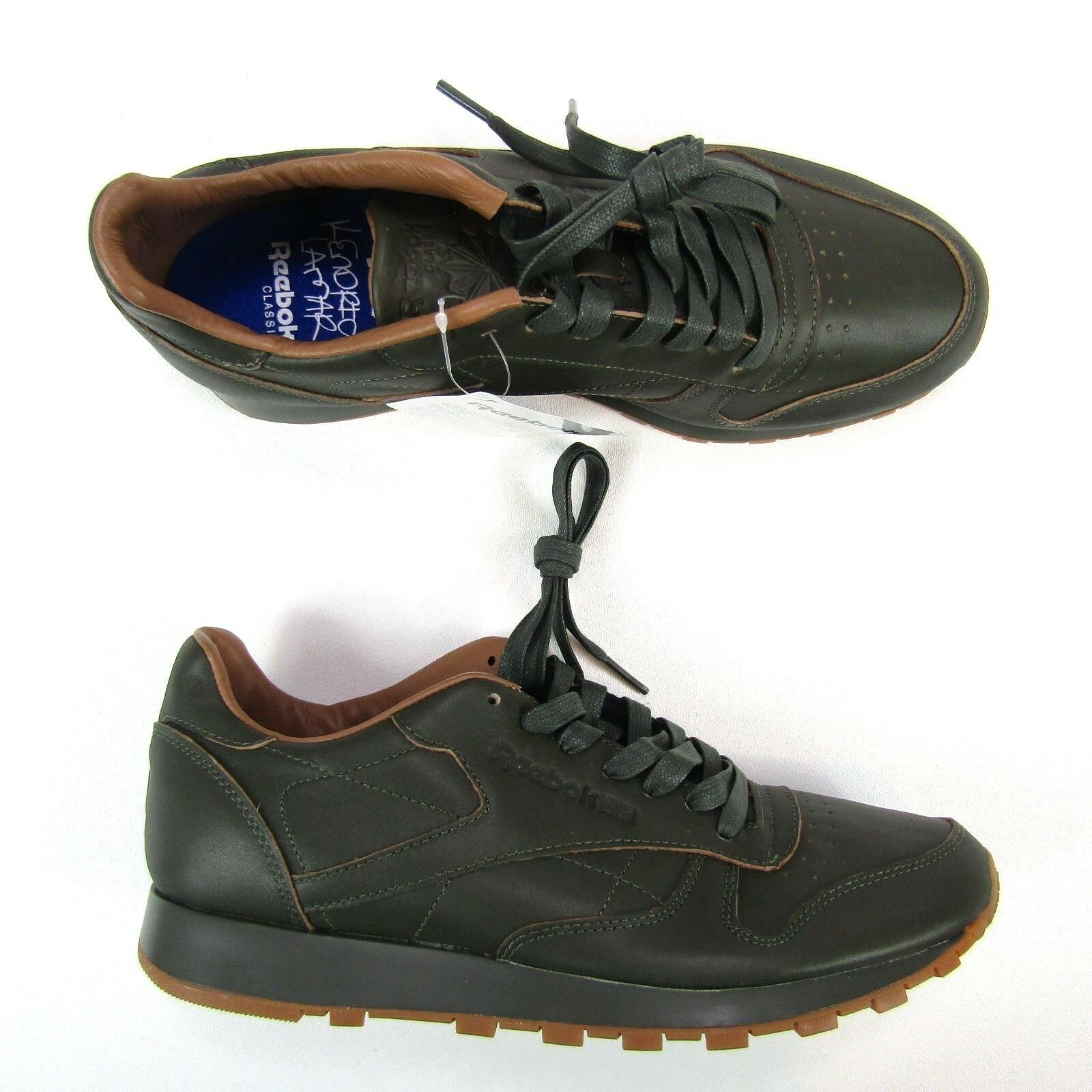 Reebok Classic Uomo Shoes Kendrick Lamar Size 7.5  Pelle Olive Green Gum