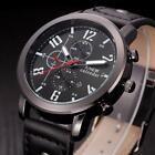 Men's Sport Watch Analog Leather Quartz Stainless Steel Wrist Watches Waterproof