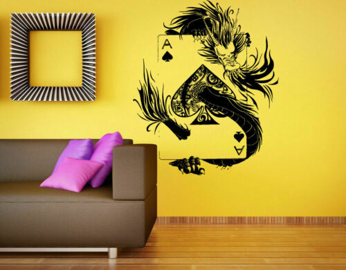 Wall Art Vinyl Room Sticker Decal Mural Cards Game Suit Of Spades Dragon bo1766