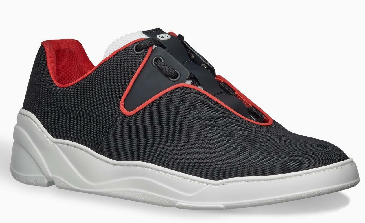 NEW DIOR HOMME BLACK CANVAS MATT LEATHER CONTRASTING CURRENT SNEAKERS SHOES 42