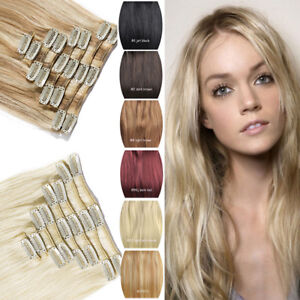 NEW-ARRIVAL-Clip-In-100-Real-Remy-Human-Hair-Extensions-Black-Blonde-Piano-AU