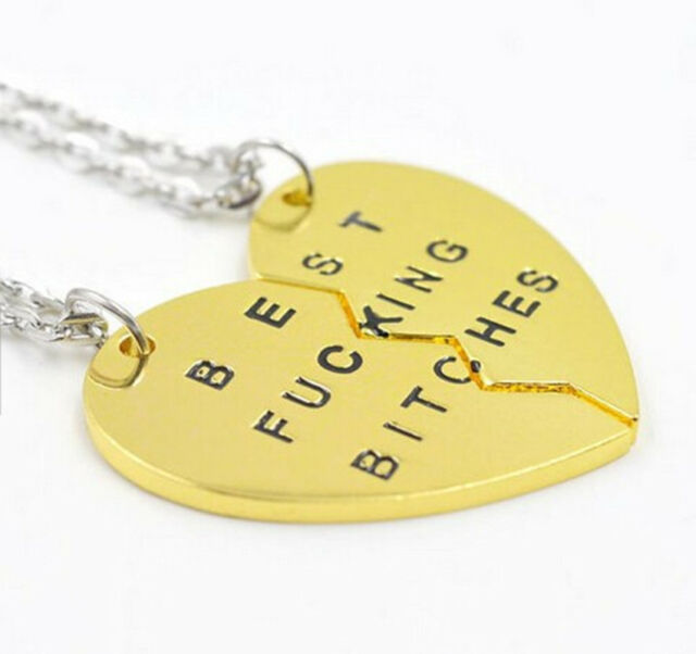 2PCS Best Friends BFF Best Bitches Heart Pendant Necklaces Jewelry Gift New