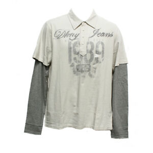 Original Dkny Men S Long Sleeve Layer T Shirts City Rock Beige Grey