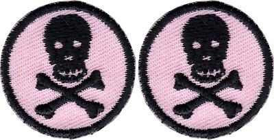 "51141 Black Skull /& Crossbones Pirate Bone Skeleton 1/"" Iron On Patch Set of 2"