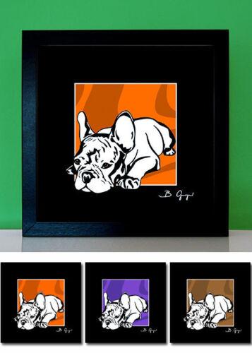 Französische Bulldogge French Bulldog Bild Pop Art Tierportrait Foto 3x pop-dogs