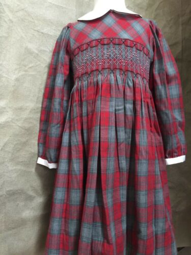 NEW Classic SMOCKED RED GRAY PLAID DRESS Carriage Boutiques 2 4 5 6 Holiday NWT