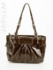 Coach Z25842 Patent Leather Pleated E. W Gallery Tote shoulder bag purse handbag