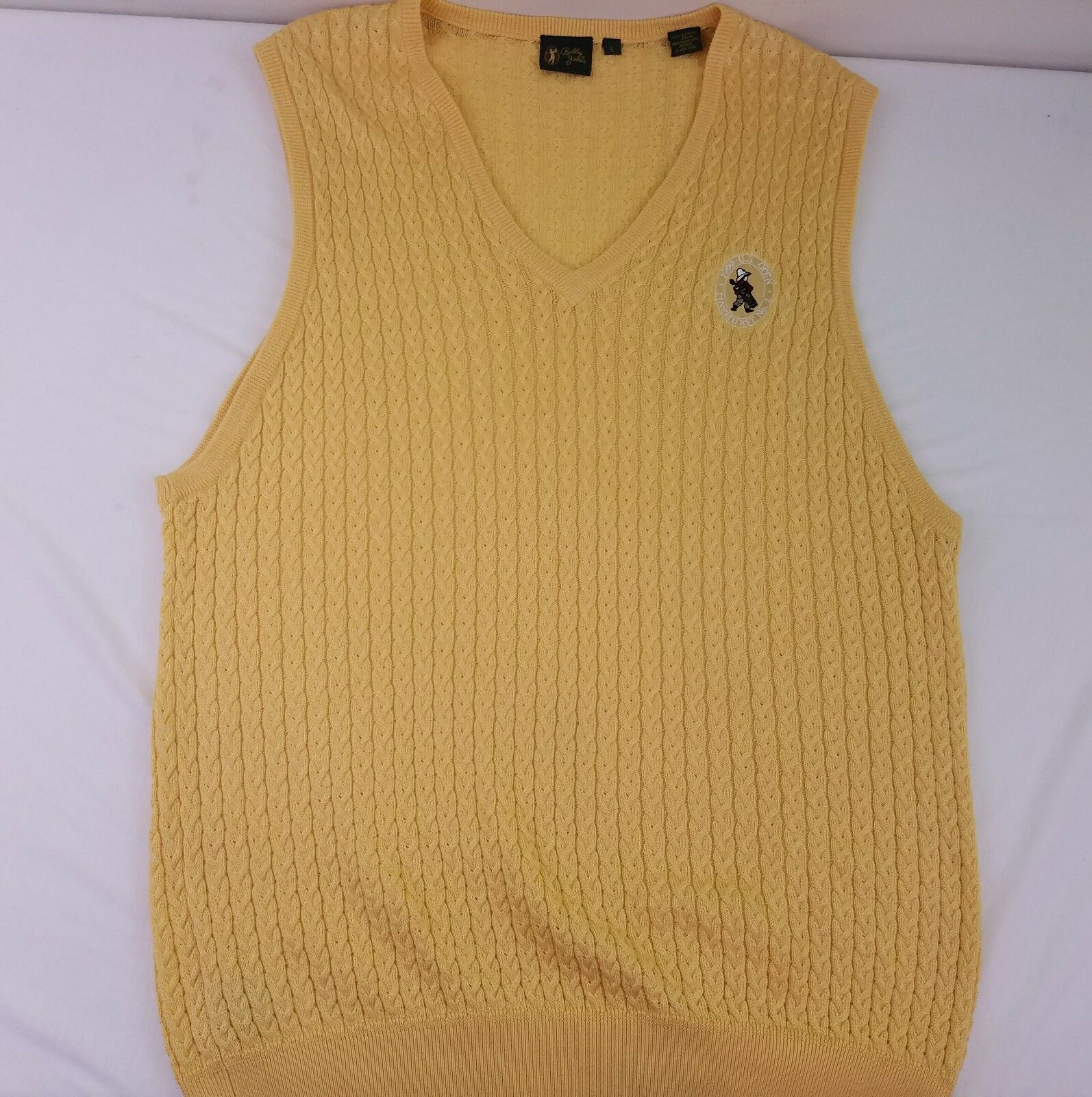 Bobby Jones Men's Yellow 1999 US Open Cable Knit Sweater Vest Size Large