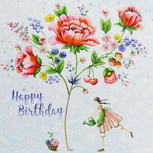 Happy Birthday Karte Für Frauen.Details Zu Nina Chen Postkarte 14x14 Frau Mit Blumen Glitzer Happy Birthday Grußkarte