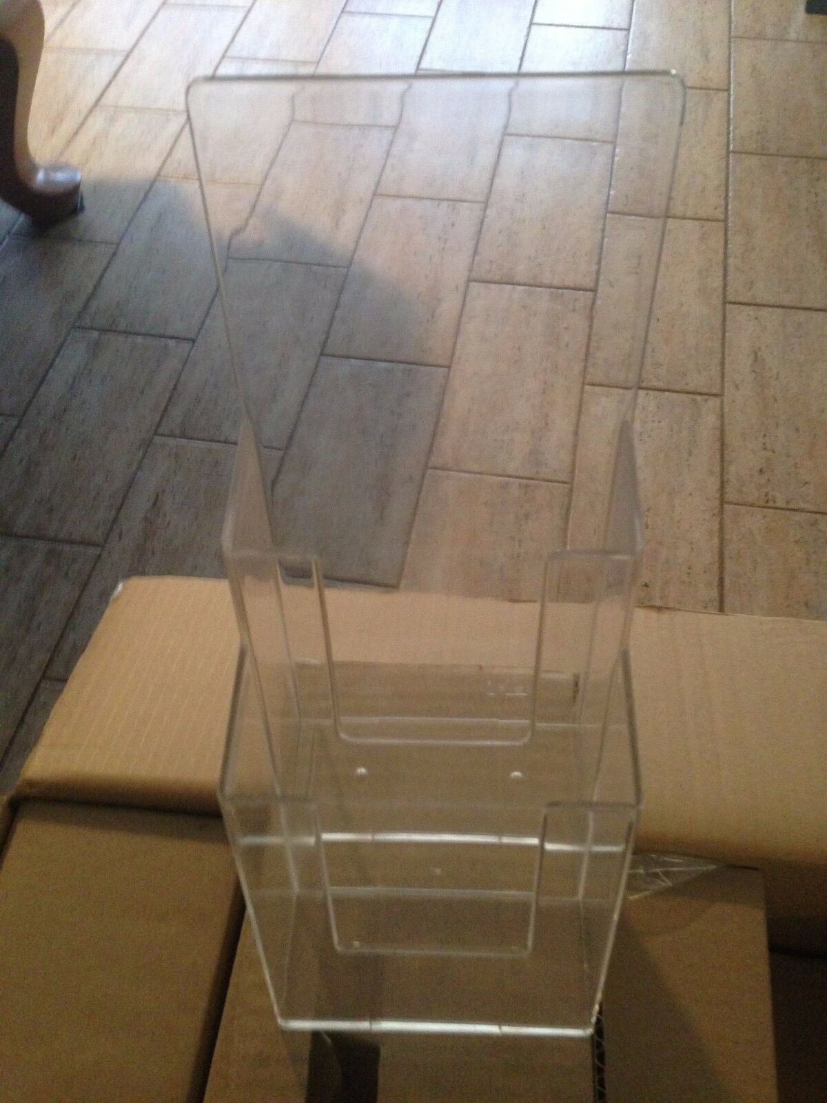 New Clear Acrylic 2-Tier Brochure & Pamplet Holder - 32 Pieces
