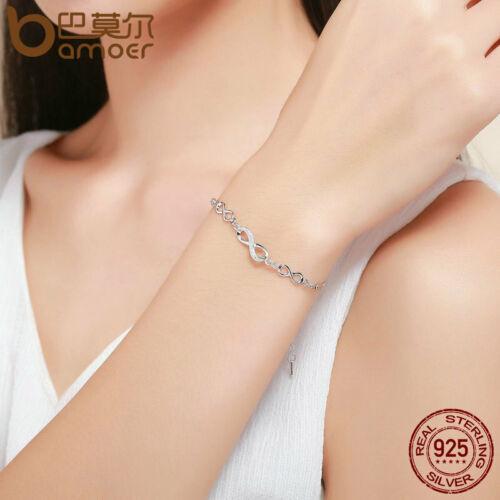 Bamoer S925 Argent Sterling Femmes Bracelet chaîne infinie élégance /& cz bijoux