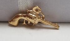 14k Yellow Gold 3D Double Side Gun Revolver Hand Pistol Pendant Charm .7 Gram