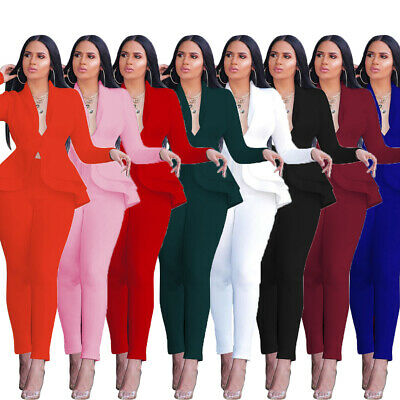 Women Solid Color OL Style Long Sleeves Ruffled Bodycon Club Party Jumpsuit 2pcs