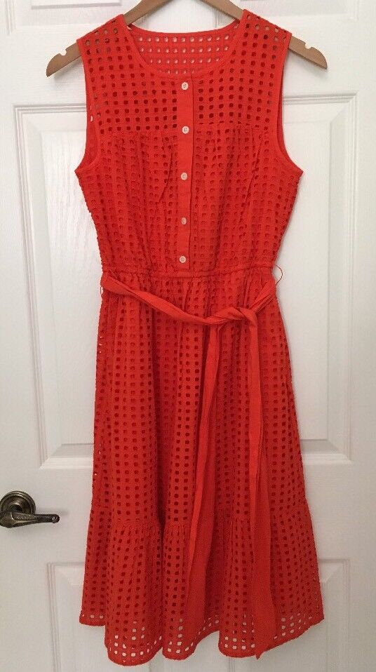 NWT J.Crew All-over eyelet dress sleeveless A-line cotton cerise red  J1608 sz00