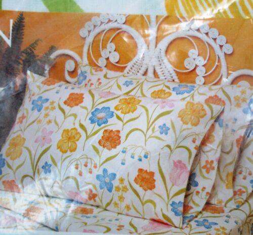 Perma Prest Percale GARDEN TRELLIS Full Flat Sheet Double Bed Floral Vintage