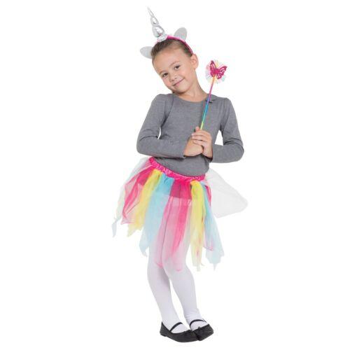 Child Girls Rainbow Unicorn Tutu Headband Wand Set Fancy Dress Book Week