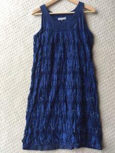 Gorgeous-JIGSAW-100-Silk-Navy-Blue-Embellished-Shift-Dress-Size-S-8-EUC