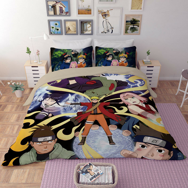 Japan Anime Cartoon Naruto All cotton 3D active printed 3-pcs single bedding set