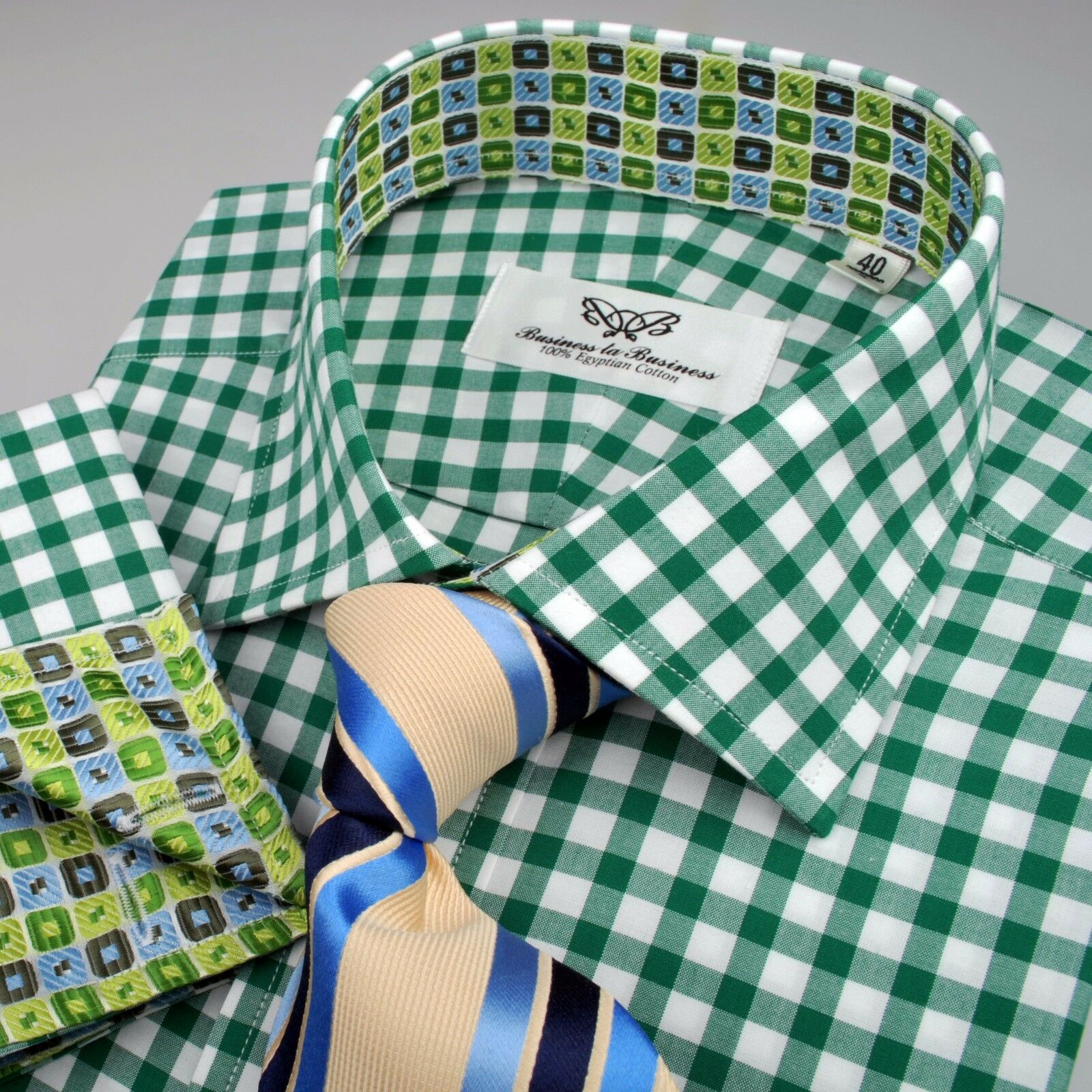 Grün Formal Geschäft Dress Shirt & Tie Combination Bundle Multi-ColouROT Plaid