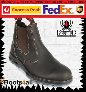 New Redback Work Boots Bobcat Chelsea Dark Brown Oil Kip Leather Soft Toe UBOK