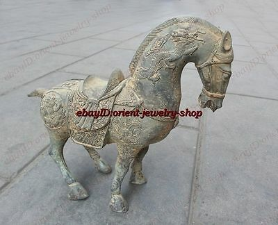 Collectible ancient Chinese Antique Style Copper dragon horse statue