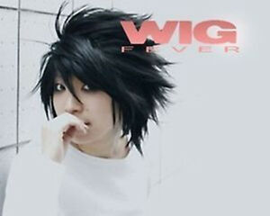 Popular-Death-Note-L-Black-Short-Stylish-Anime-Cosplay-Wig-gift-earrings