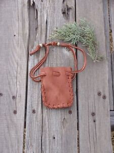 Leather-drawstring-pouch-Leather-amulet-bag-Leather-medicine-bag