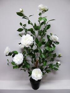 Large artificial rose tree bush in a pot white flowers potted plant image is loading large artificial rose tree bush in a pot mightylinksfo