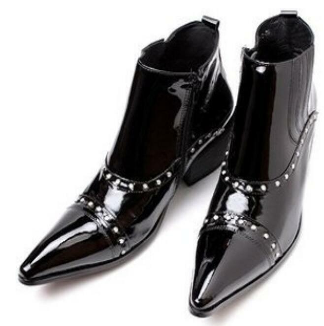 Uomo Zip Pointy Toe British Ankle Stivali Pelle Cuban Mid Heel Dress Stivali Shoes