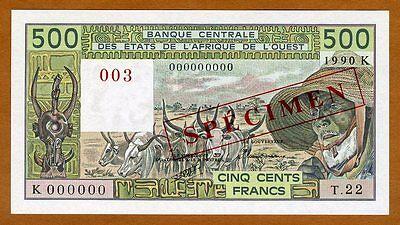 1990 P-706ks Unc Reasonable Specimen West African States 500 Francs Senegal