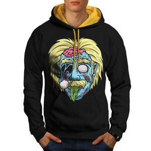 Geek Zombie Hoodie Men Hood Einstein Contrast Cool Black New gold qqvfExF
