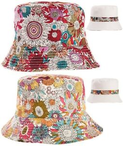 Womens Reversible 100% Cotton Bucket Hats Floral or Plain Look Bush ... 49cb332f5df2