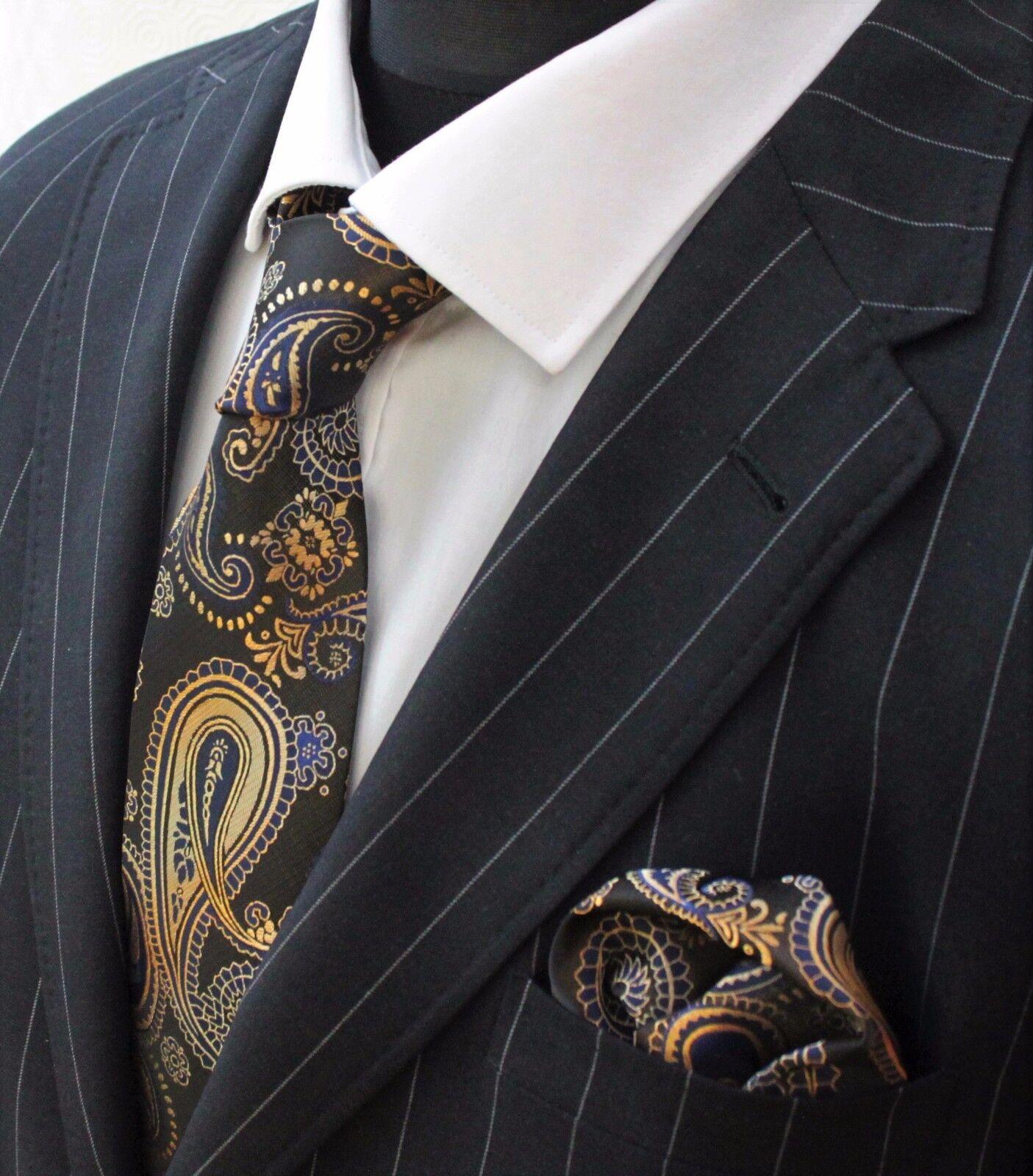 Men's Tie & Handkerchief Set Gold & Blue Paisley LUC163