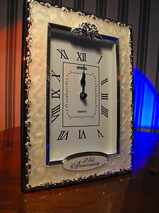 Image Is Loading 25th Wedding Anniversary Gift Present Silver Clock