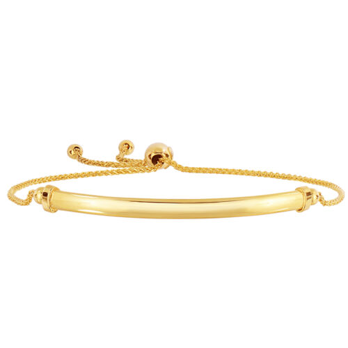 """9.25/"""" 14K Yellow Gold Diamond Cut  Wheat Bracelet With Curved Bar Element"""
