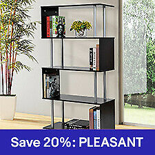 4-Tires Wooden Bookcase S Shape Storage Display Unit Home Décor Furniture