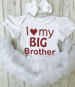 ee7d95cd40e6 BABY GIRLS LOVE My BIG BROTHER TUTU ROMPER dress NEWBORN Princess ...