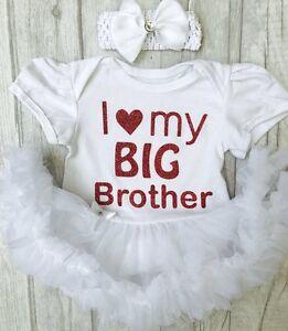 597892bb63e7 BABY GIRLS LOVE My BIG BROTHER TUTU ROMPER dress NEWBORN Princess ...