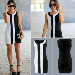 Women-Plus-Size-Sleeveless-Bodycon-Long-T-Shirt-Color-Block-Crew-Neck-Mini-Dress